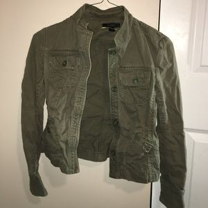 Express Army Green XS Cropped UtilityJacket